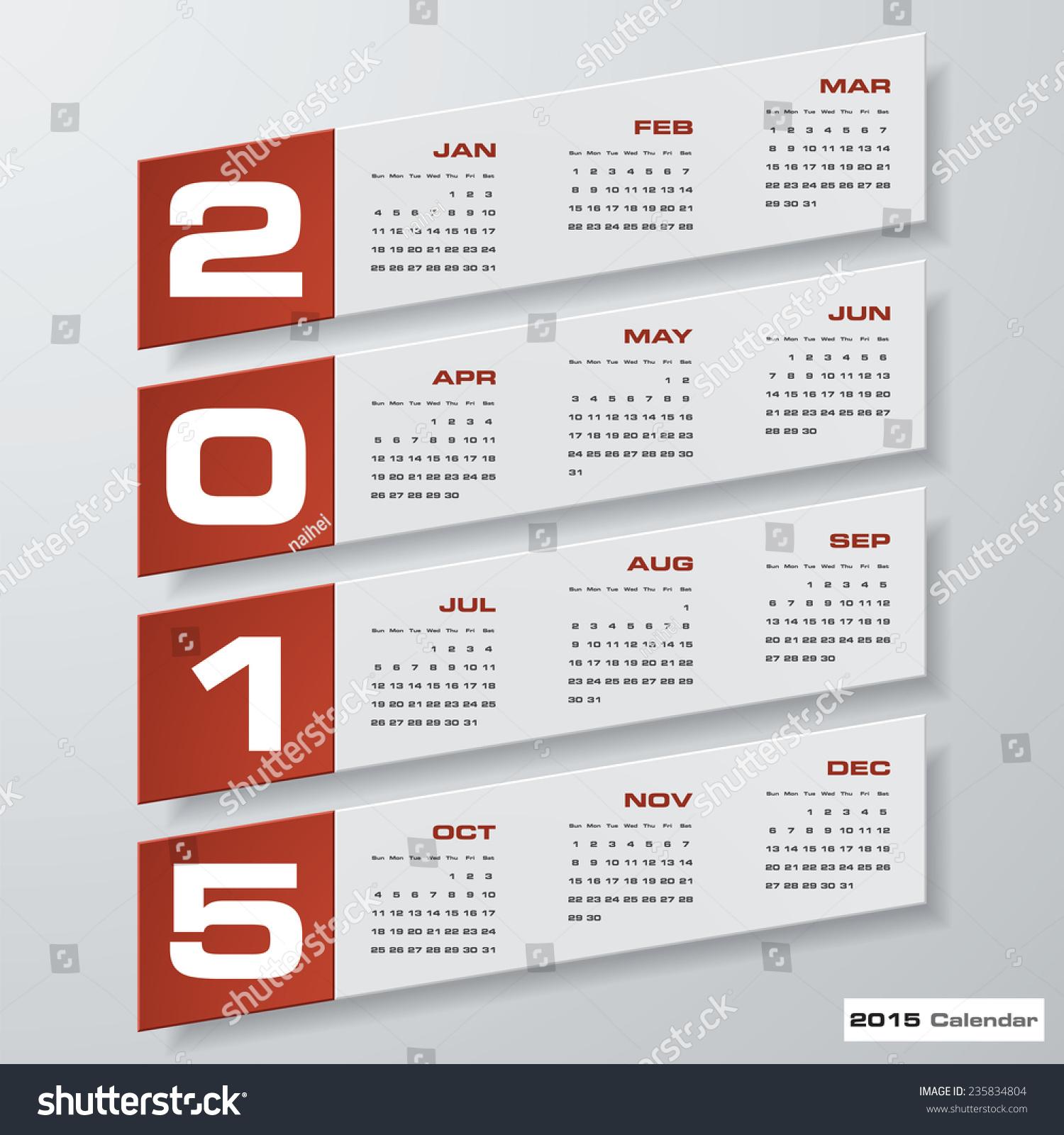 Simple Editable Vector Calendar 2015 Stock Vector 235834804 ...