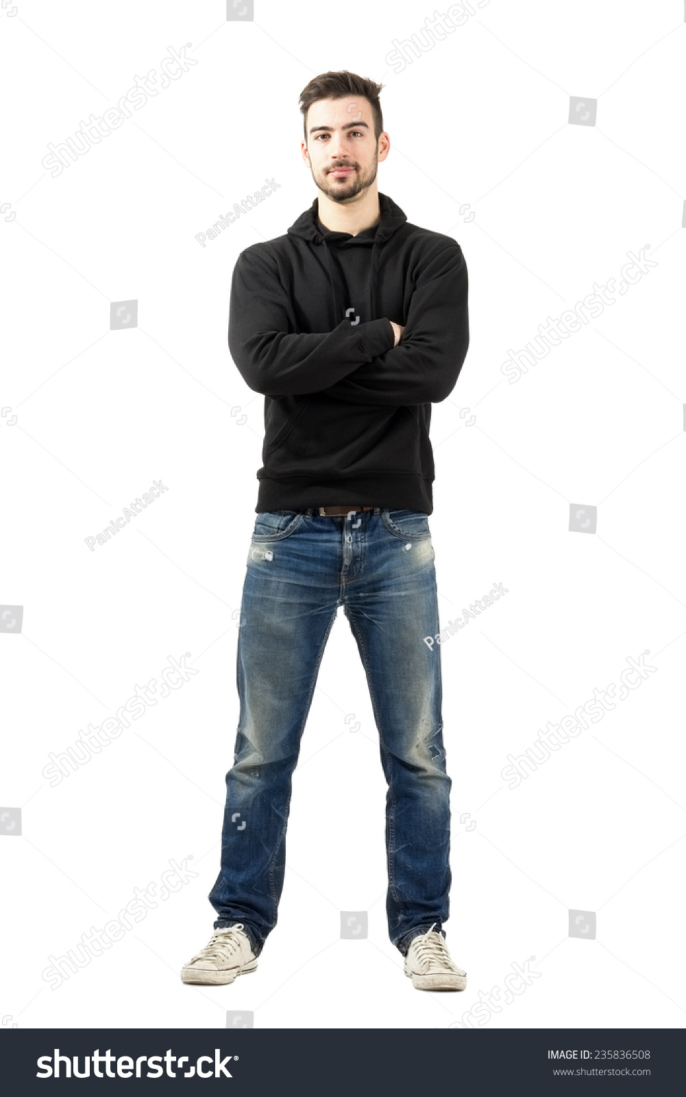 full body hoodie young man hoodie crossed arms looking stock photo 9422