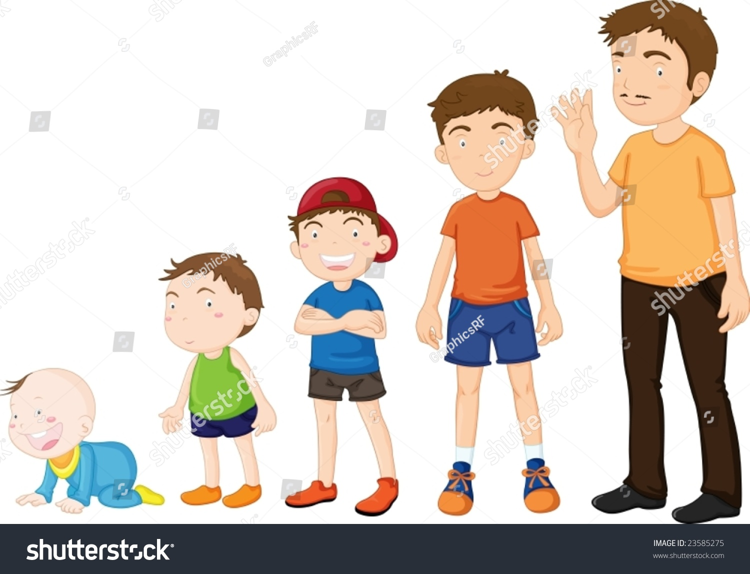 Illustration Stages Growing Baby Man Stock Vector 23585275 ...