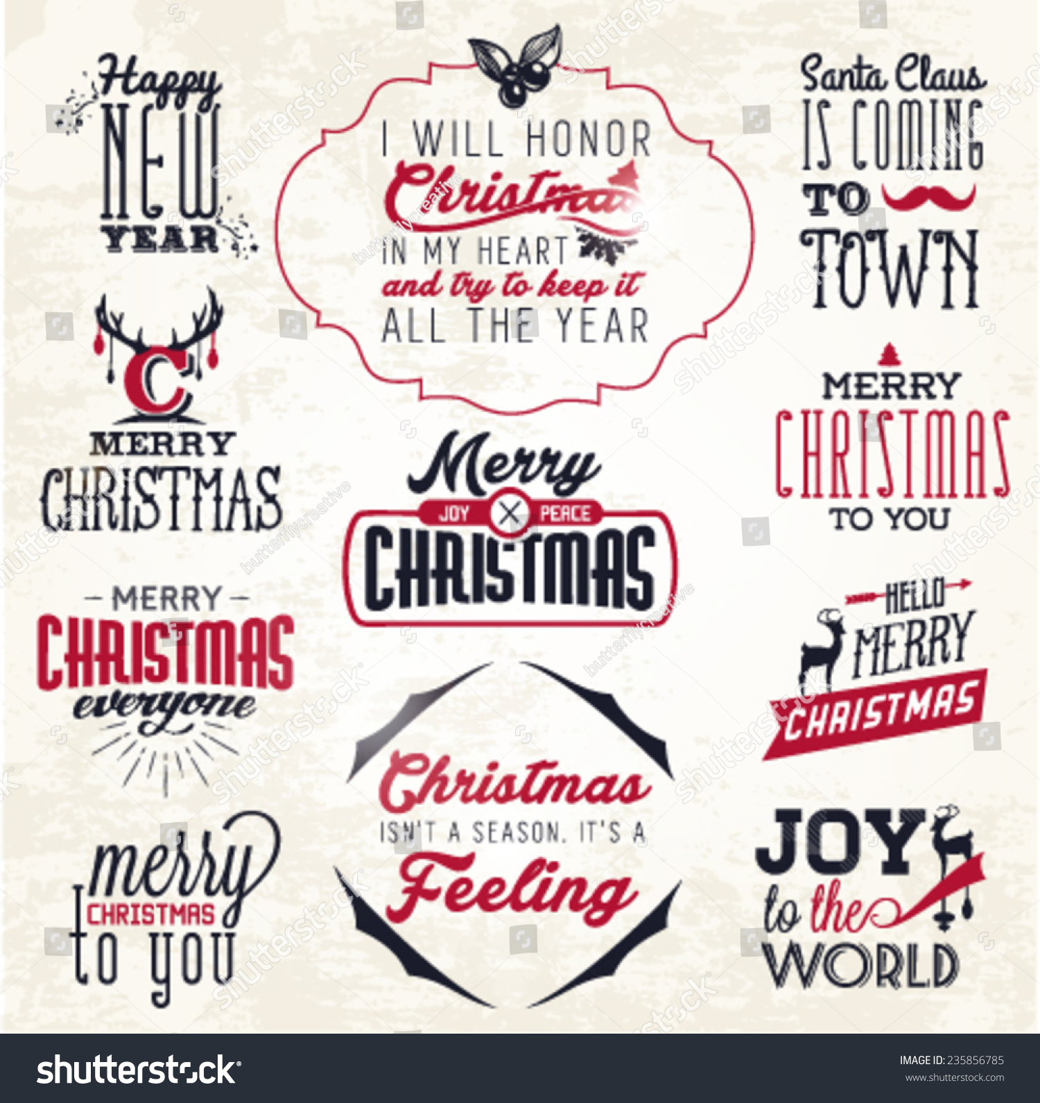 Christmas Greeting Card Badges Labels Vector Stock Vector (Royalty ...