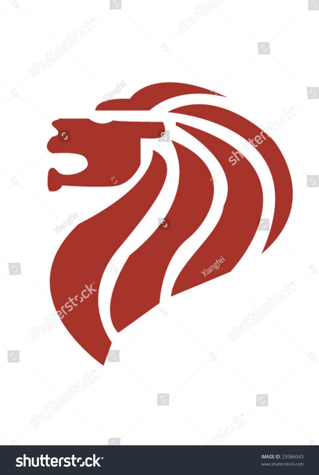 Symbol os singapore lion head stock vector 23586043 for Merlion tattoo images
