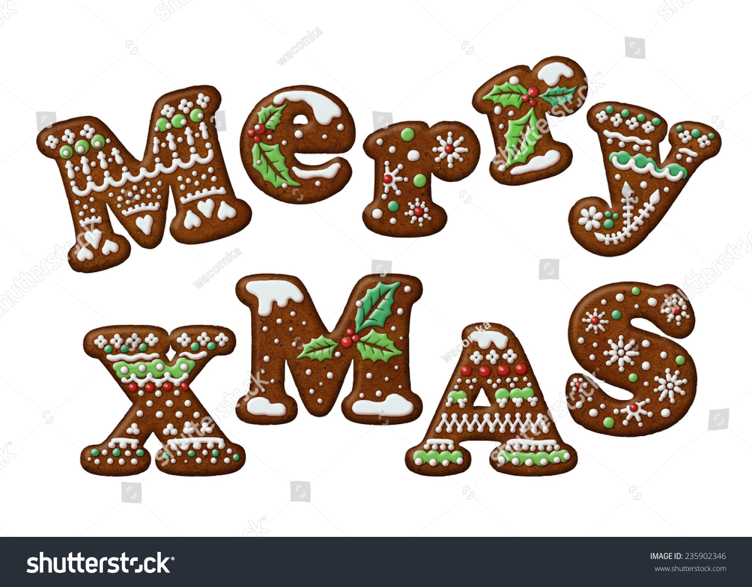 merry christmas words decorated gingerbread cookies illustration isolated letters