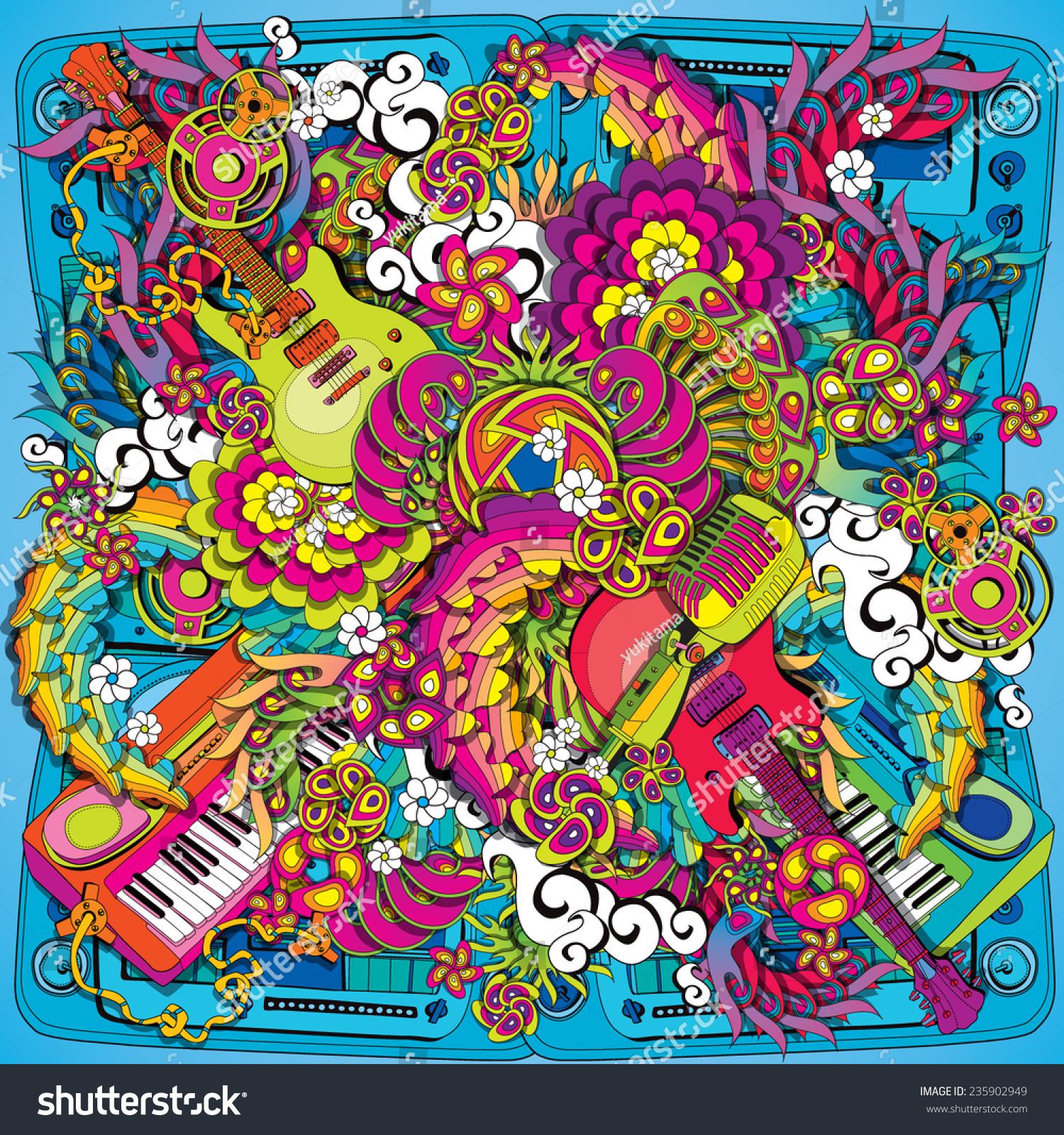psychedelic music illustration stock vector 235902949