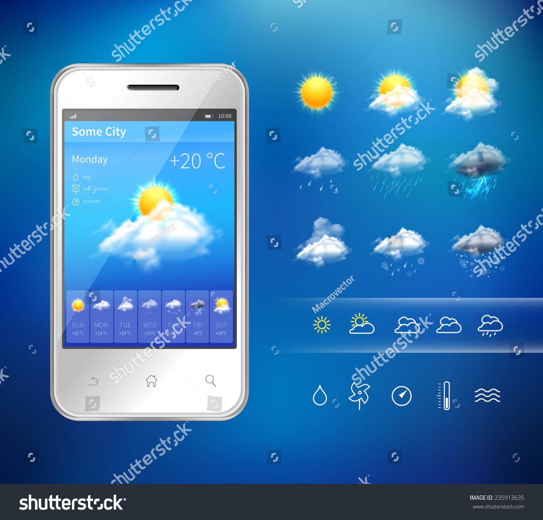 Realistic Mobile Phone Weather Forecast Widget Stock Vector ...