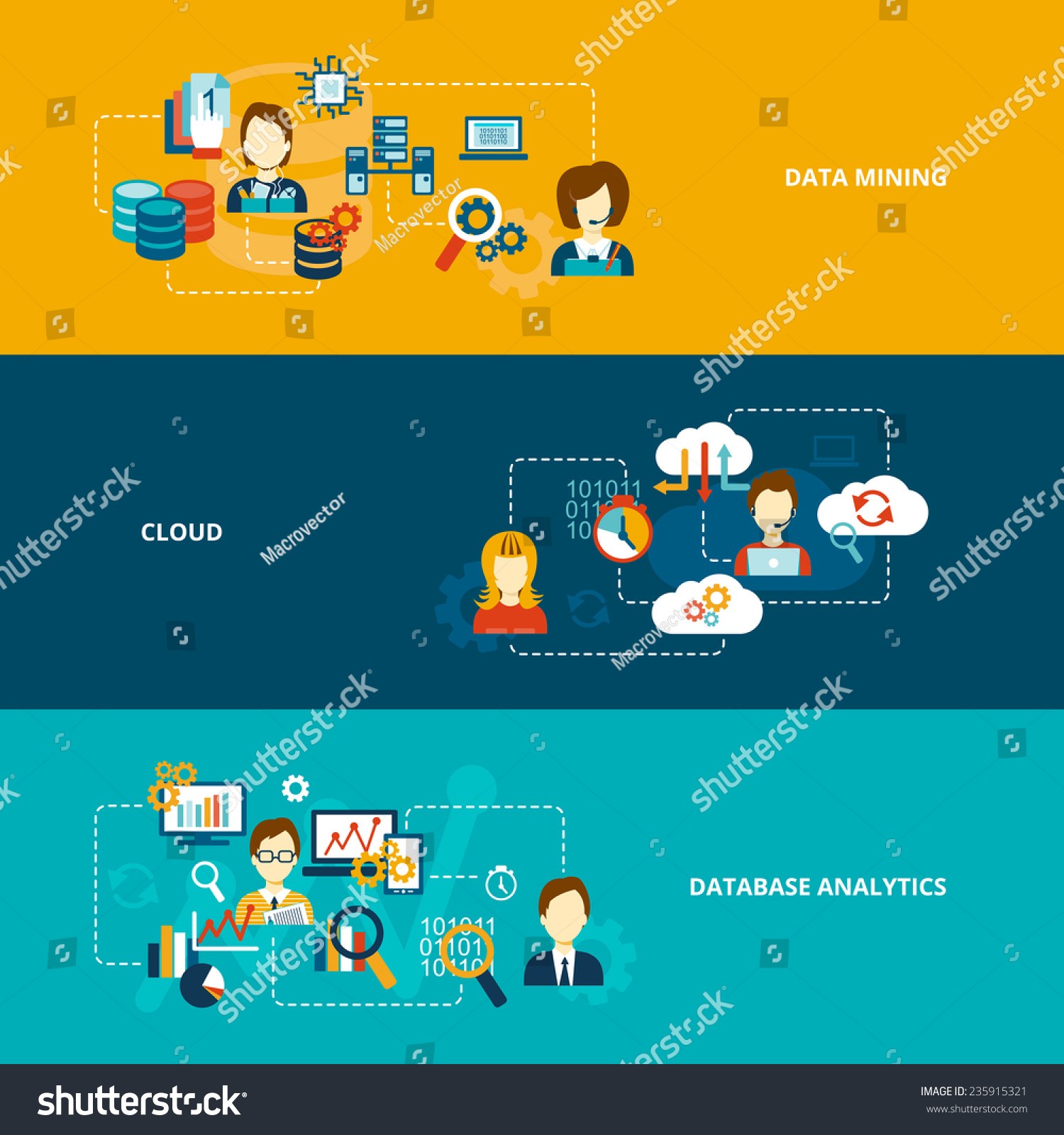 Database Analytics Banner Flat Set Data Stock Vector 235915321 - Shutterstock