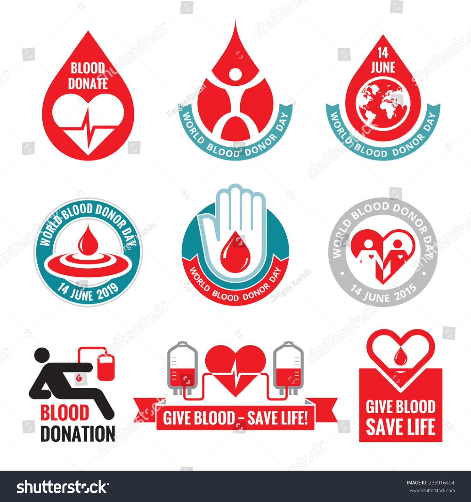 blood donation vector logo template badges set