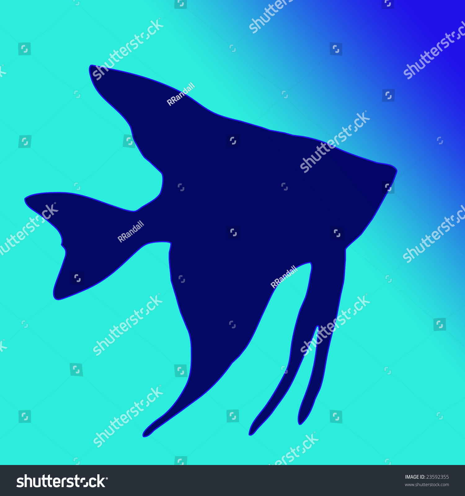 silhouette of angel fish in bright gradient blue green water stock, Reel Combo
