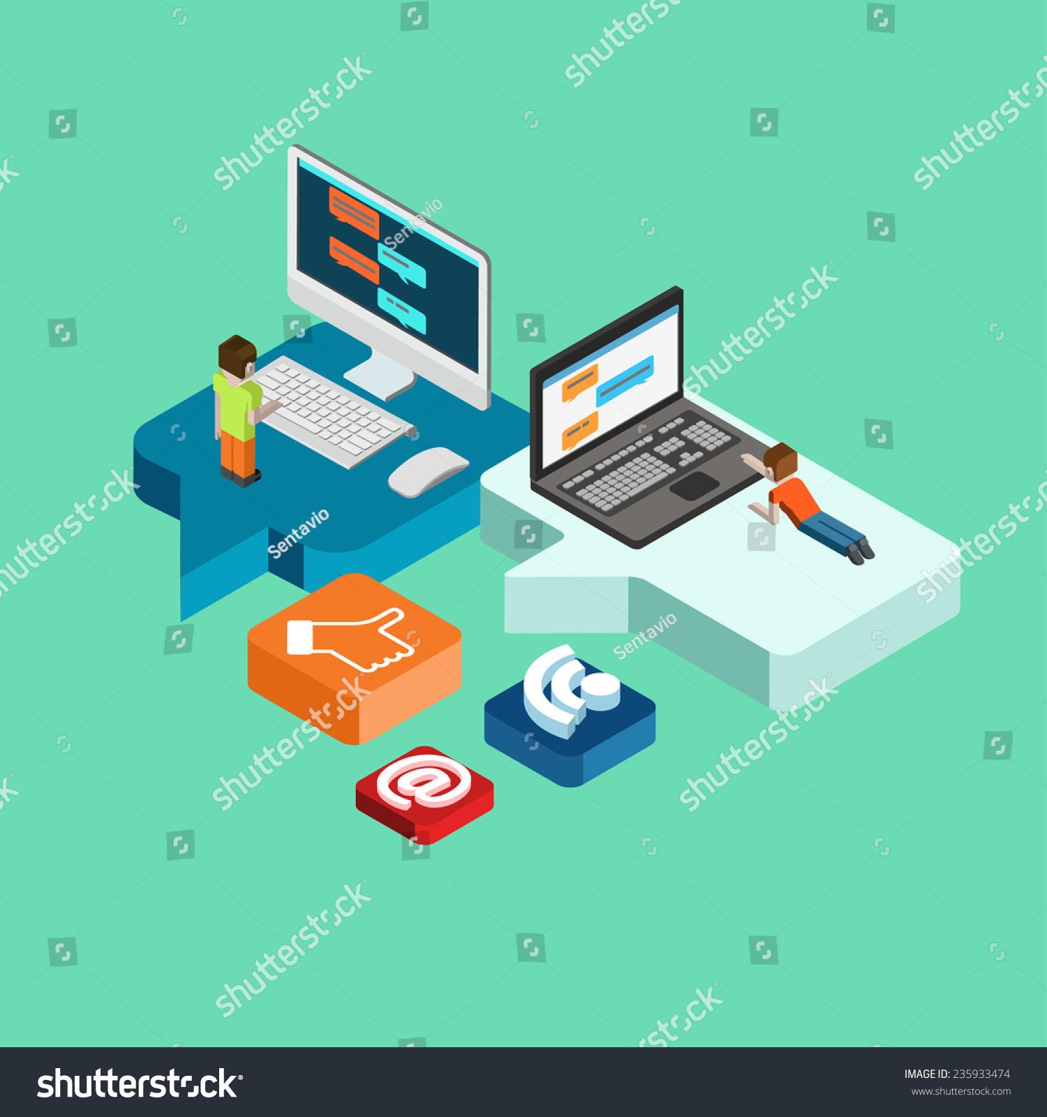 Chat Message Social Media Flat 3d Stock Vector 235933474 - Shutterstock