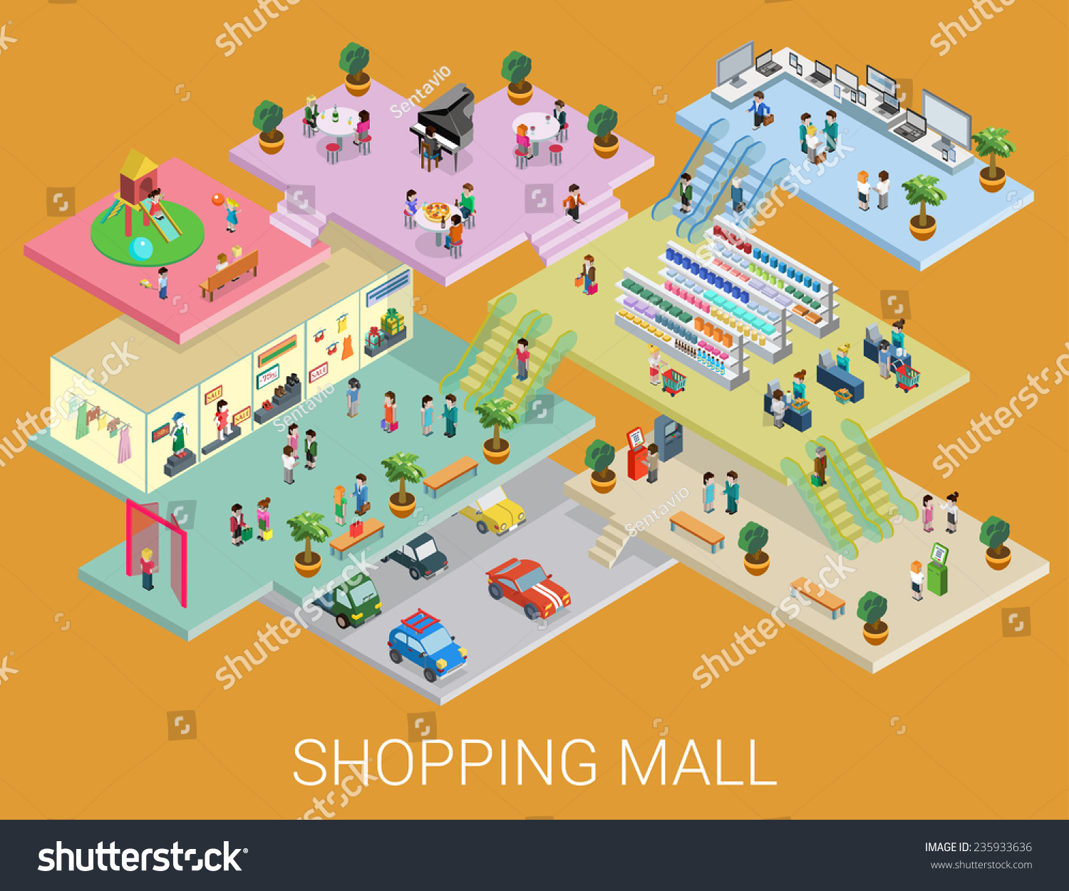 Flat 3d Isometric Shopping Mall Concept Vector City