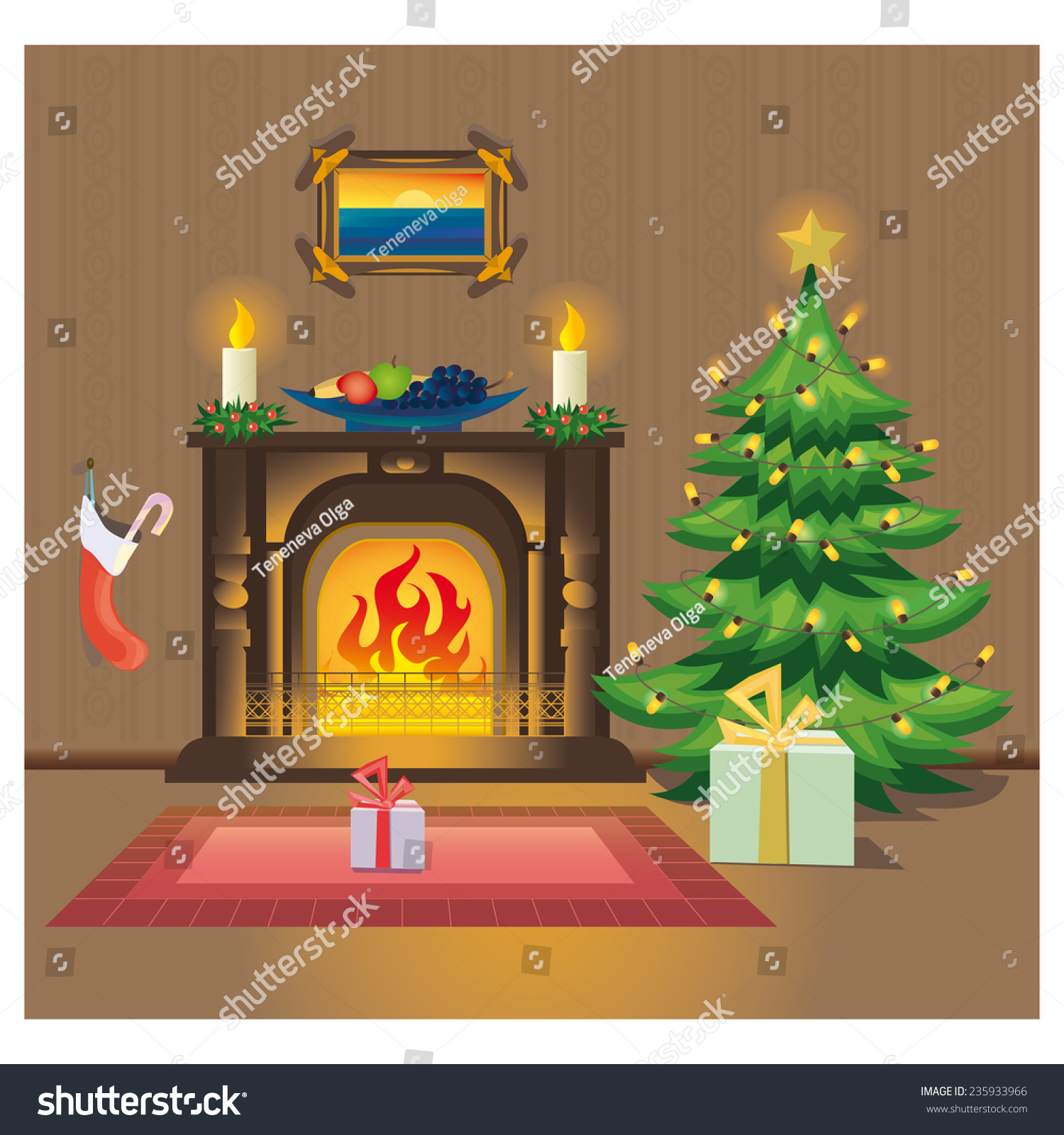 room fireplace christmas tree stock vector 235933966 shutterstock