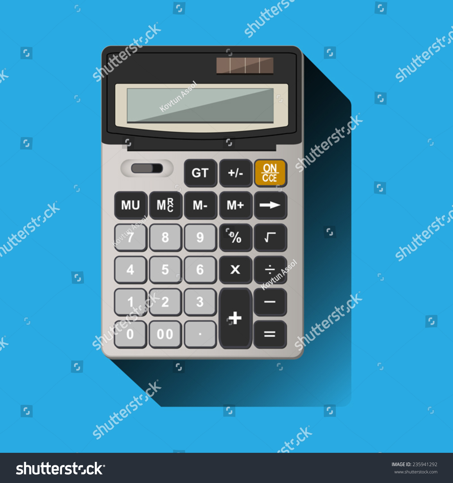 painted realistic calculator on blue background | EZ Canvas