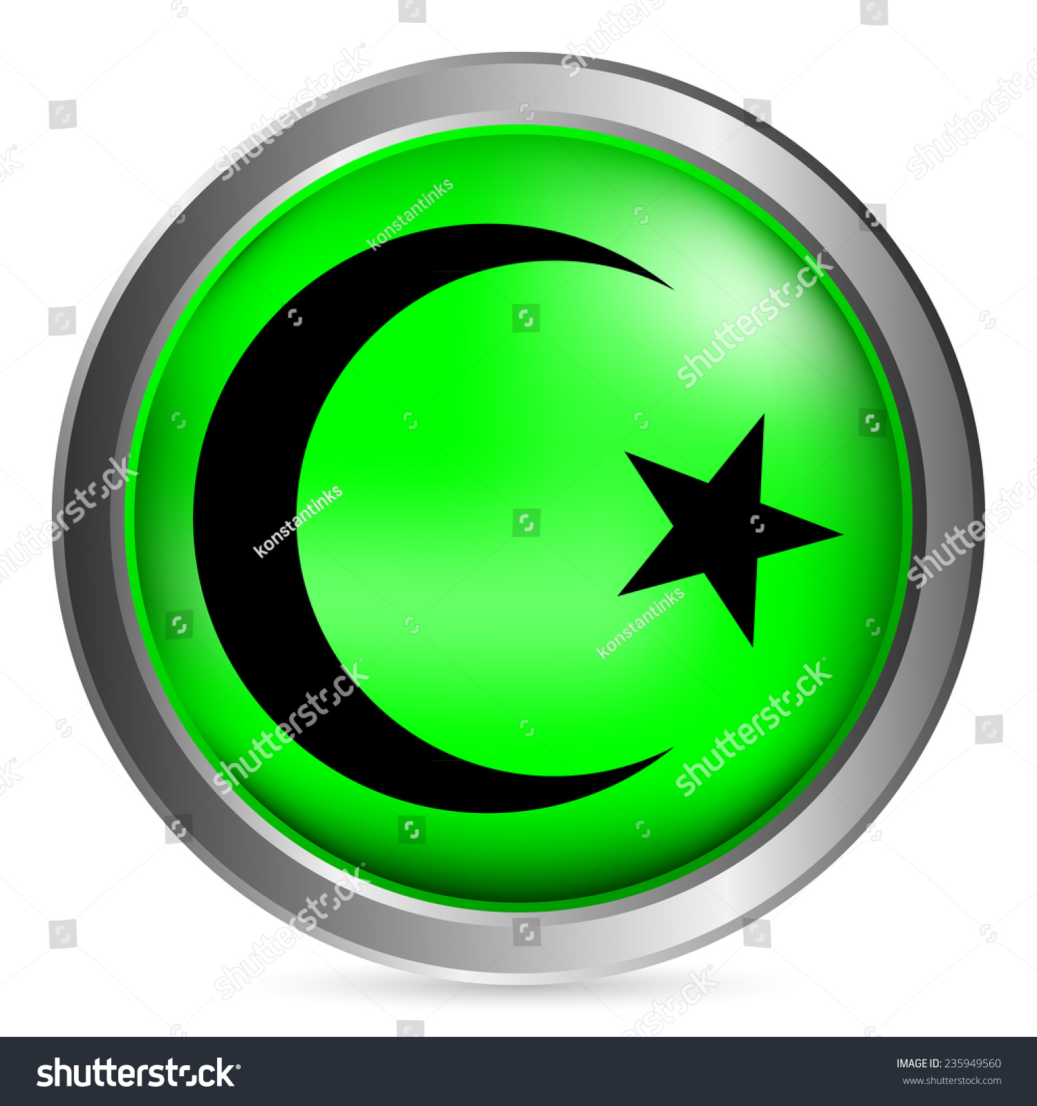 Star crescent button on white background stock vector 235949560 star and crescent button on white background vector illustration symbol of islam buycottarizona Gallery