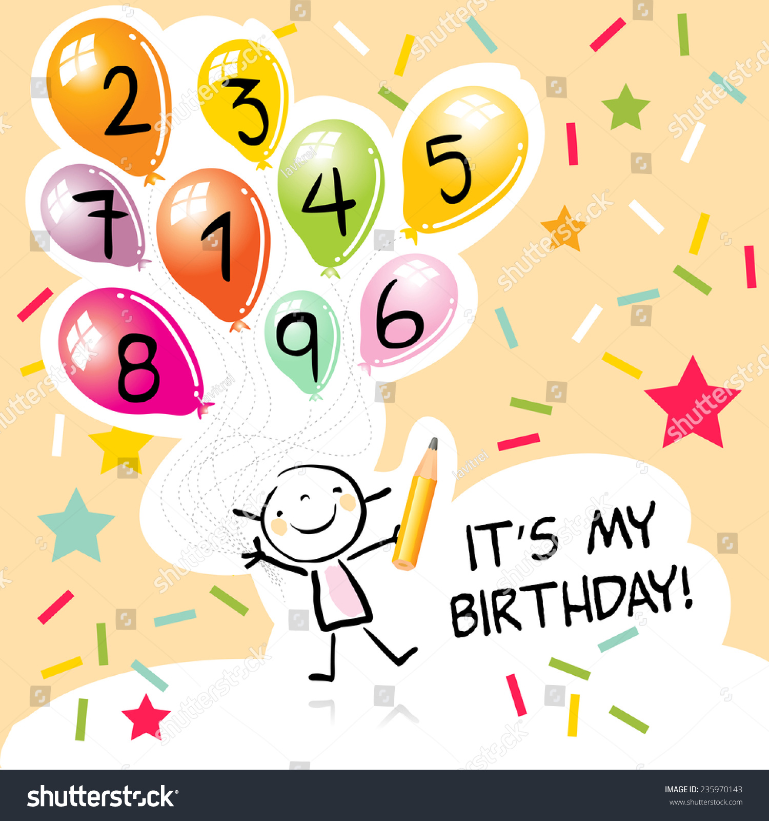 Happy birthday greeting card party invitation stock vector 235970143 happy birthday greeting card party invitation colorful balloons with doodle line art kristyandbryce Image collections
