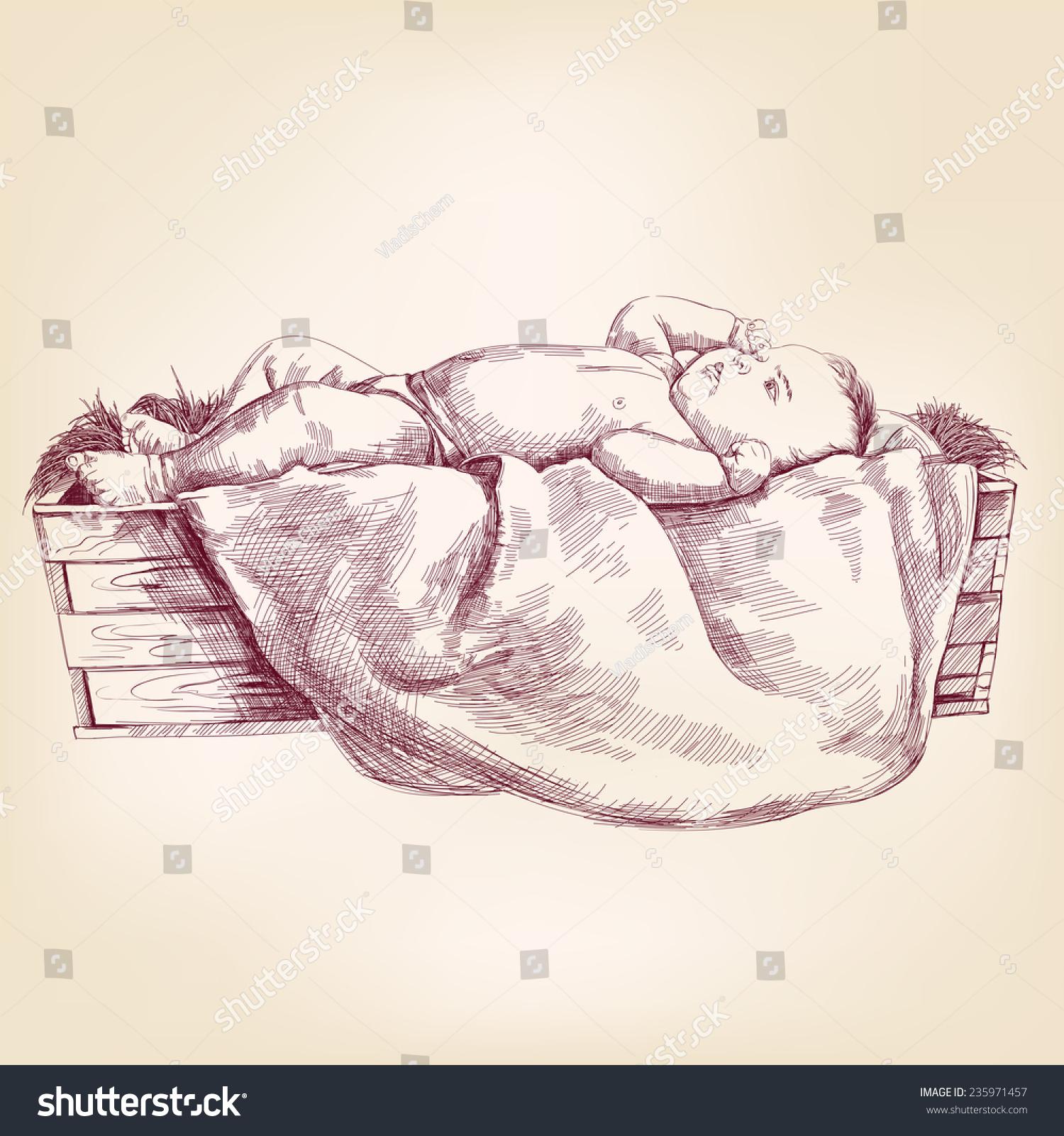baby jesus manger hand drawn vector stock vector 235971457