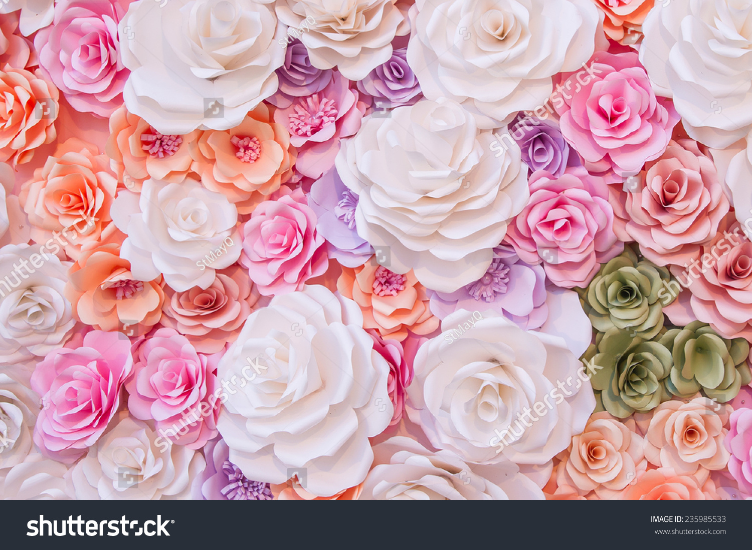 Colorful Flowers Paper Background Pattern Stock Photo Edit Now