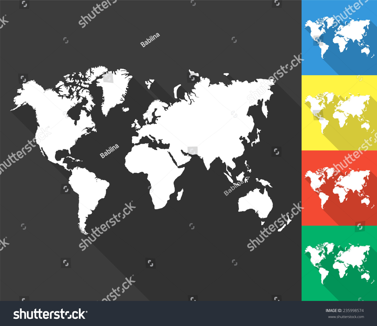 World map icon gray colored blue stock vector 235998574 shutterstock world map icon gray and colored blue yellow red green gumiabroncs Image collections