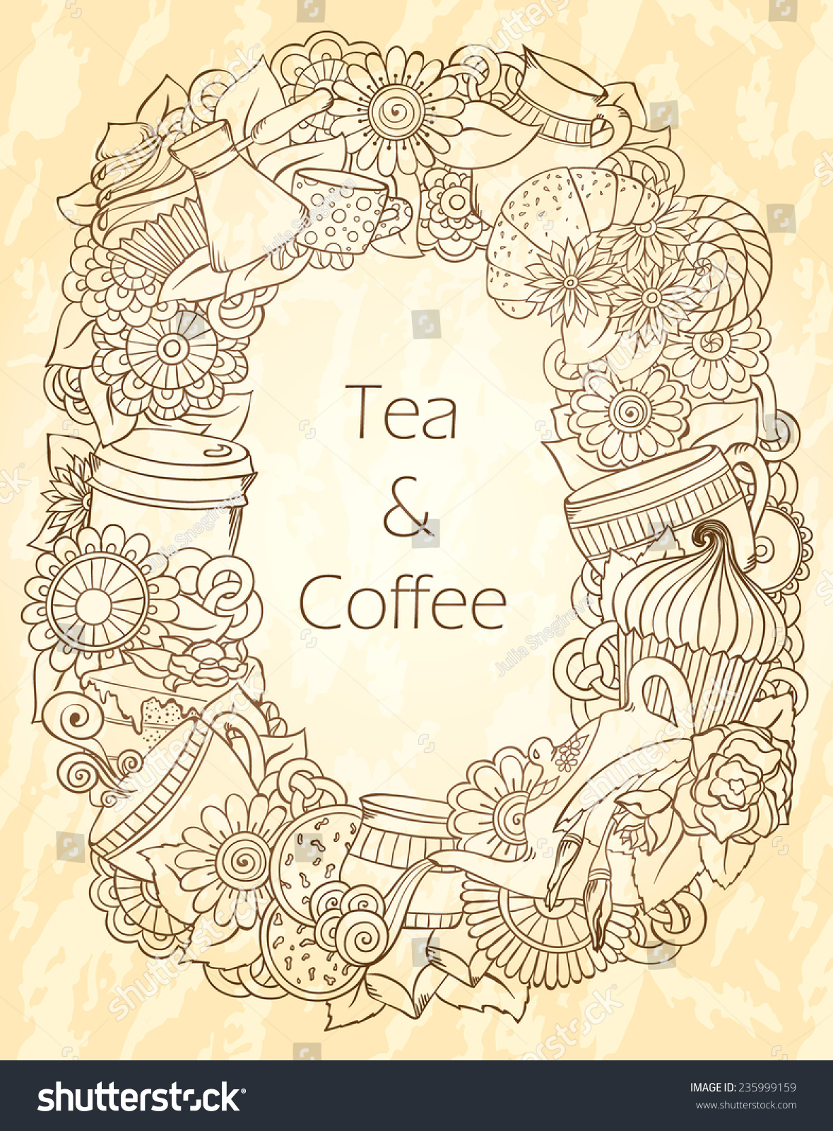 coffee tea sketch doodles hand drawn vector stock vector royalty
