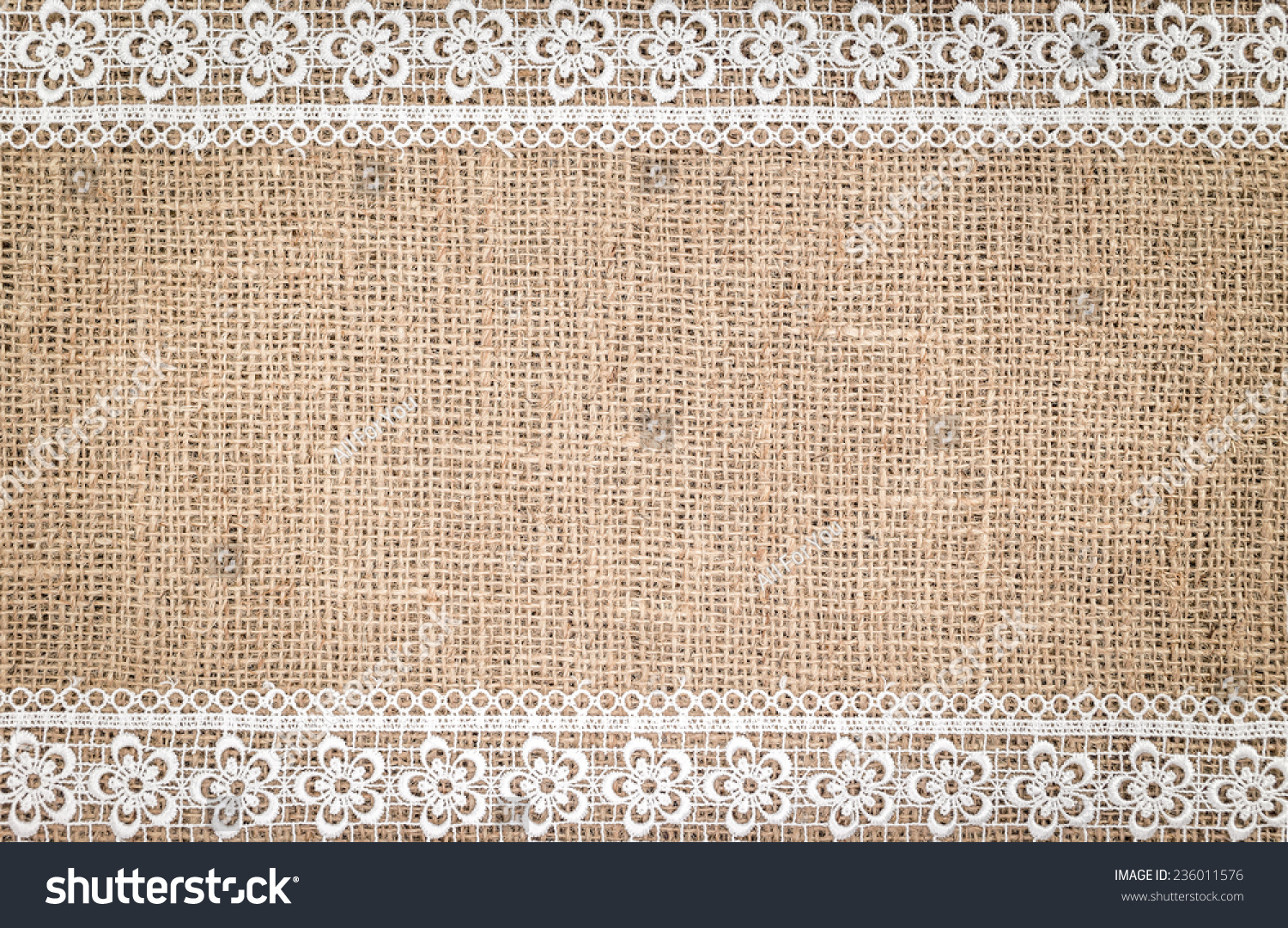 Burlap Texture With White Lace Background