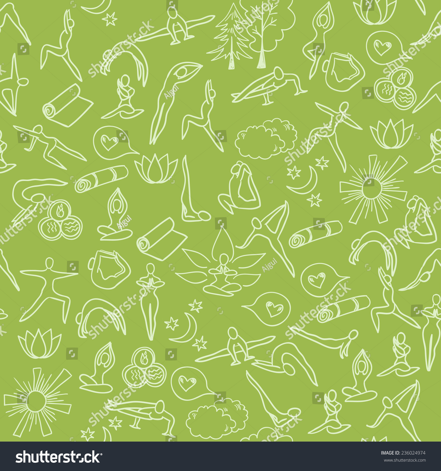 Yoga Background Vector Seamless Pattern Hand Stock Vector ...