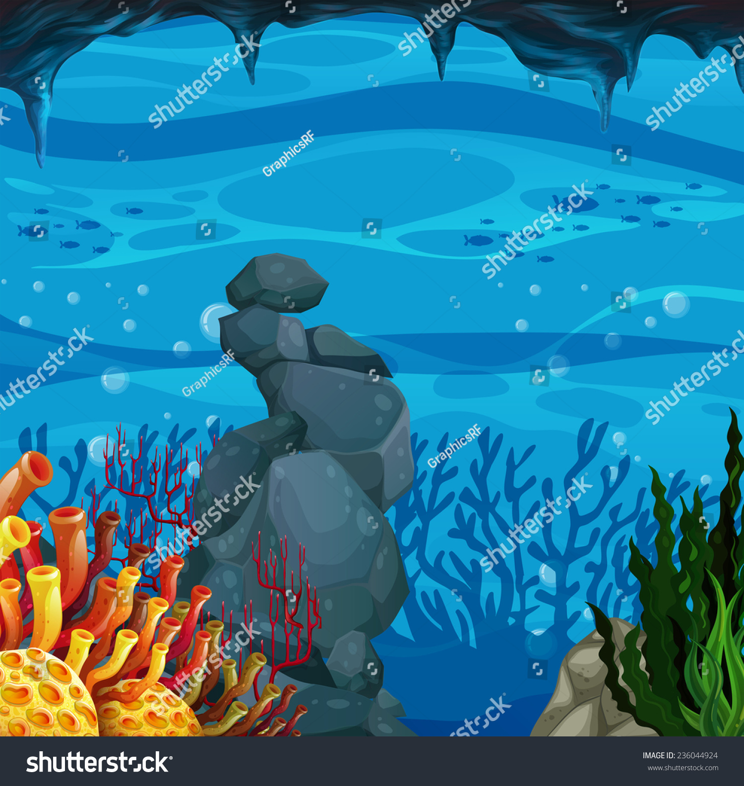 poster underwater scene stock vector 236044924 shutterstock