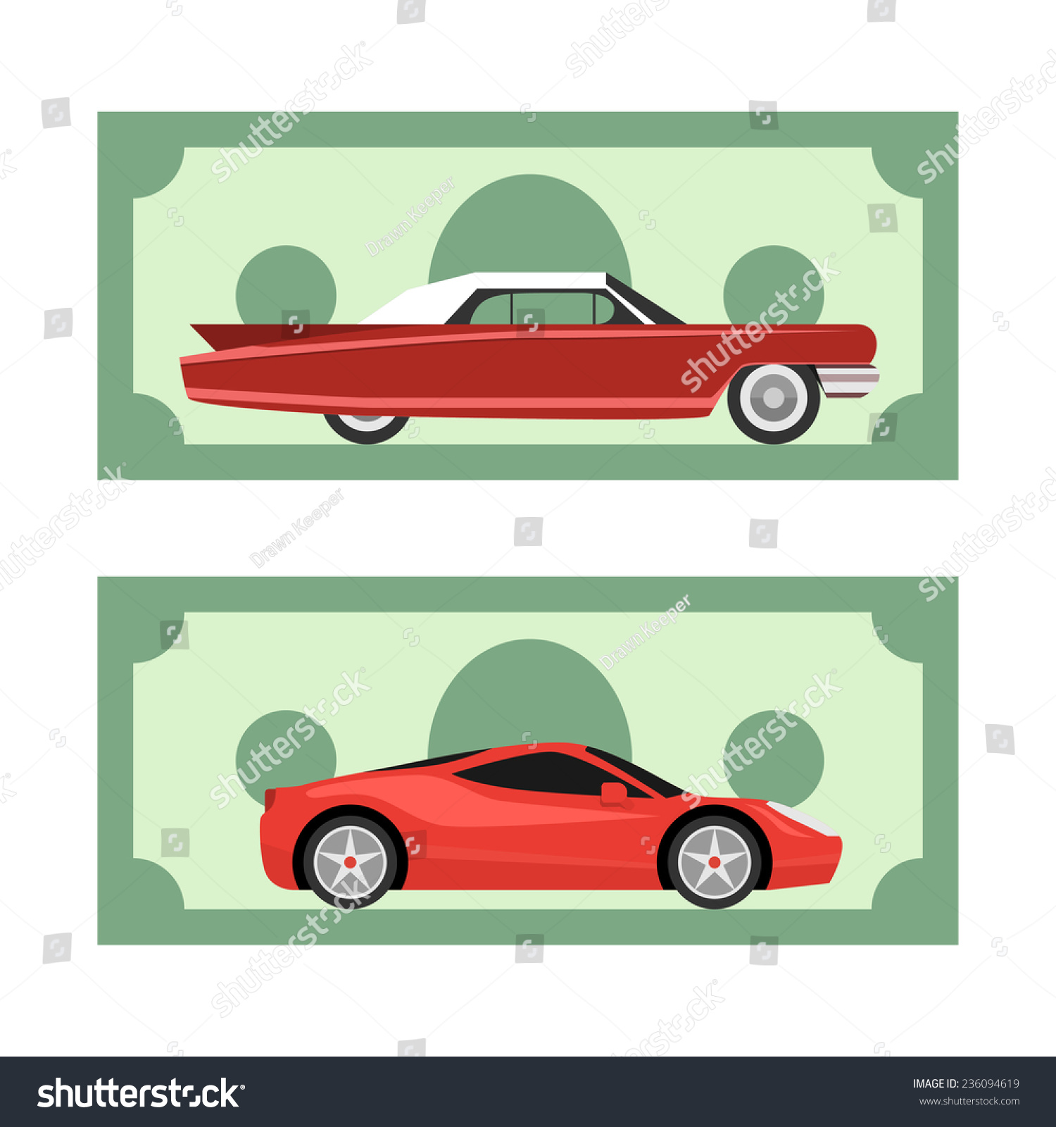 Old New Cars On Dollar Money Stock Vector 236094619 - Shutterstock