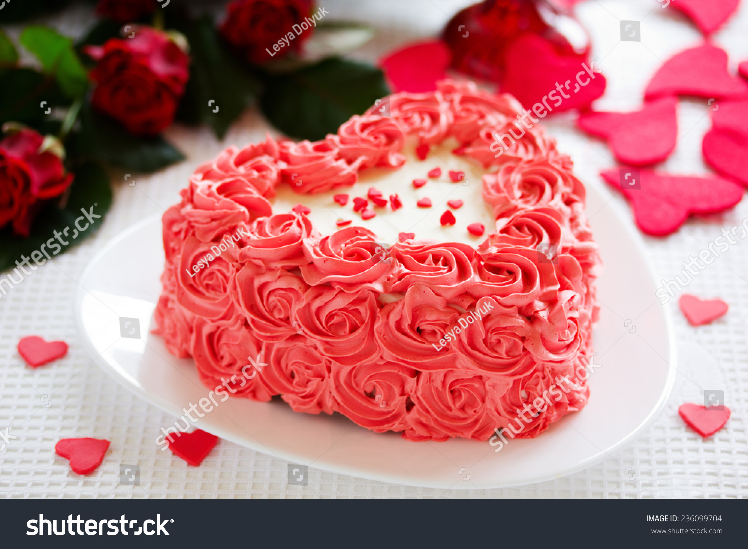 Birthday Cake Valentines Day Roses Stock Photo Edit Now 236099704