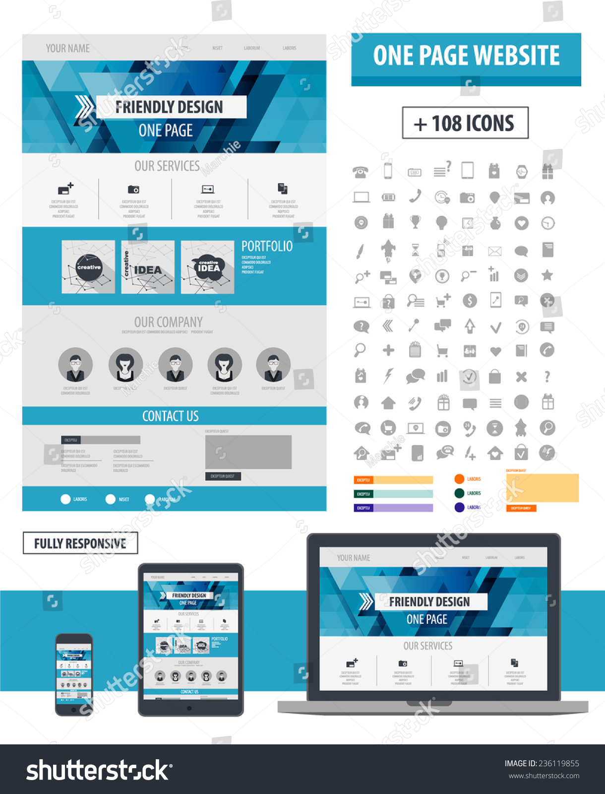 One Page Website Template Responsive Design Stock-Vektorgrafik ...