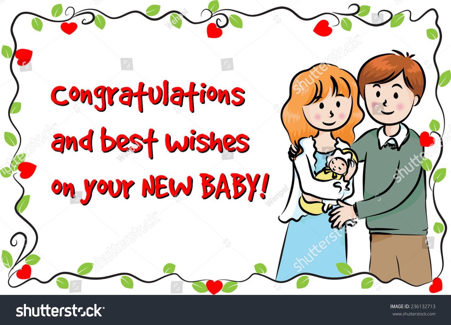 greeting card new born baby stock vector royalty free 236132713