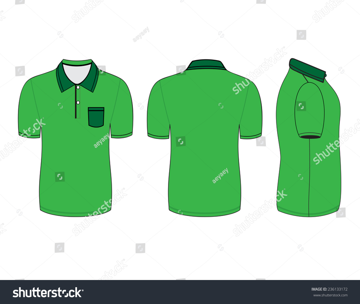 490b9b1aa polo shirt design templates (front, back and side views). Vector  illustration #