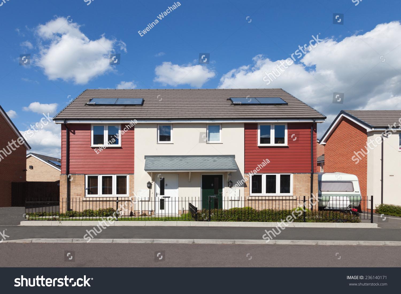 Modern Semi Detached House Stock Photo 236140171