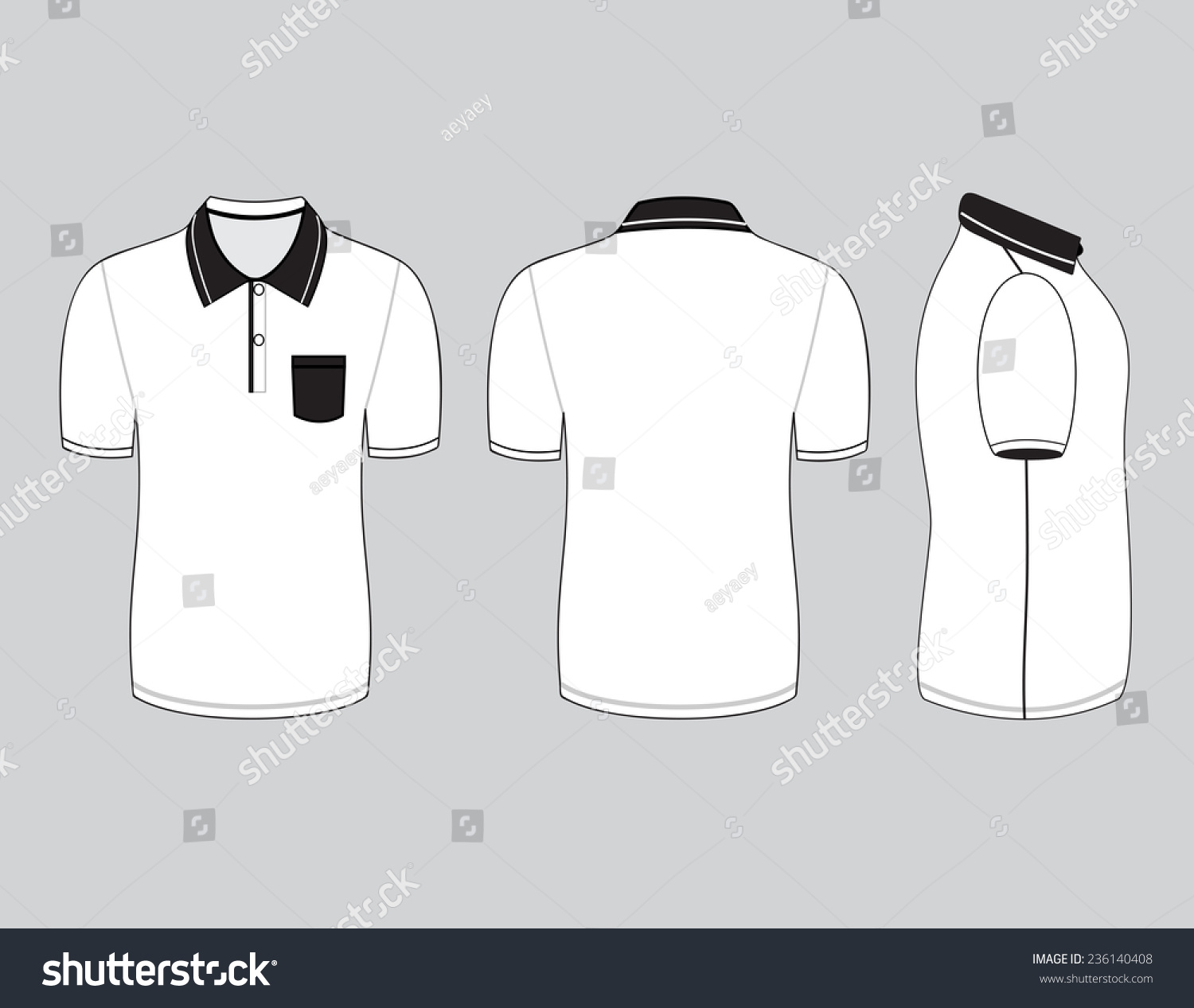 Polo shirt design templates front back stock vector for Polo shirt design template