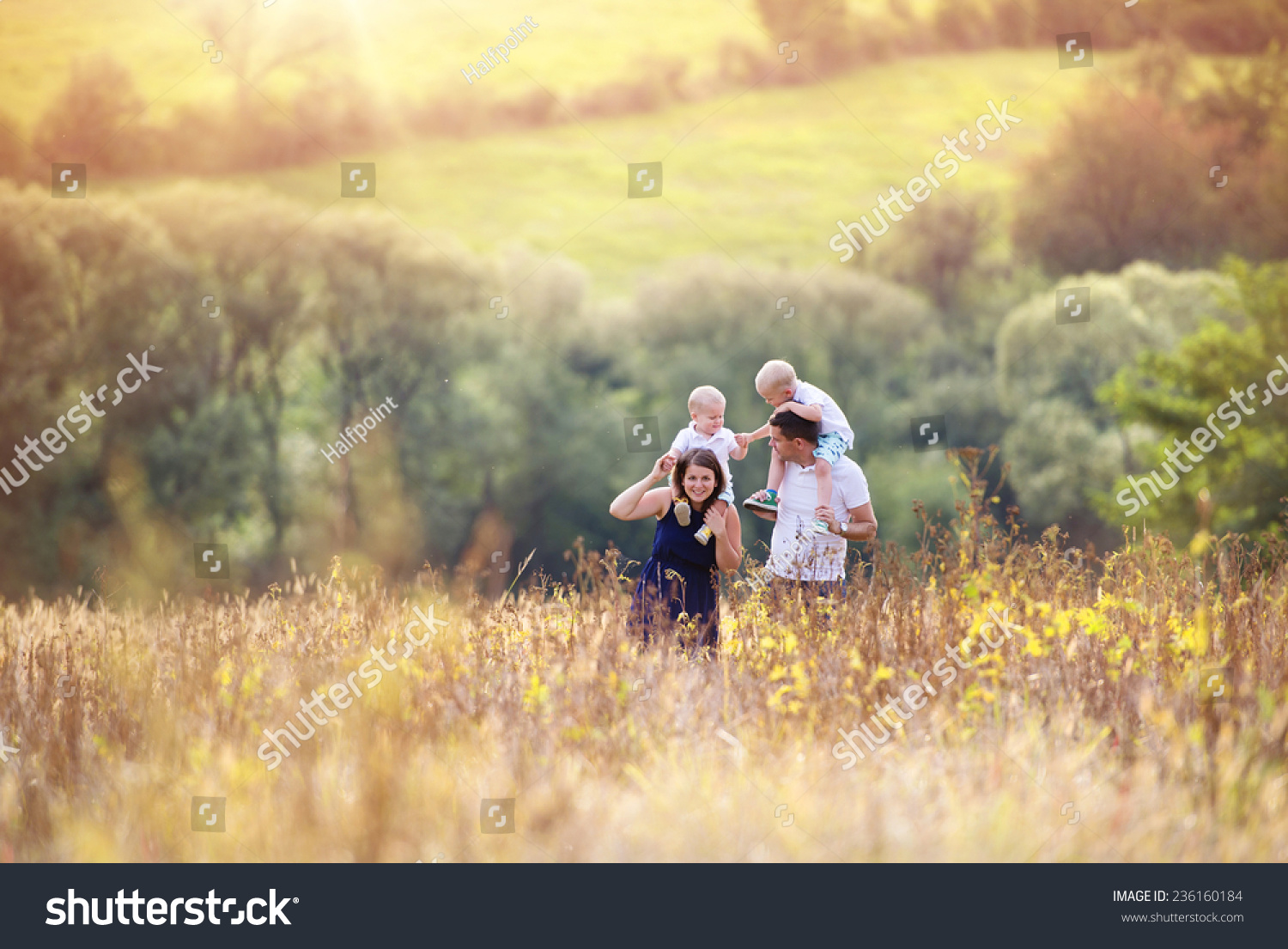 Happy Family Enjoying Life Together Meadow Stock Photo