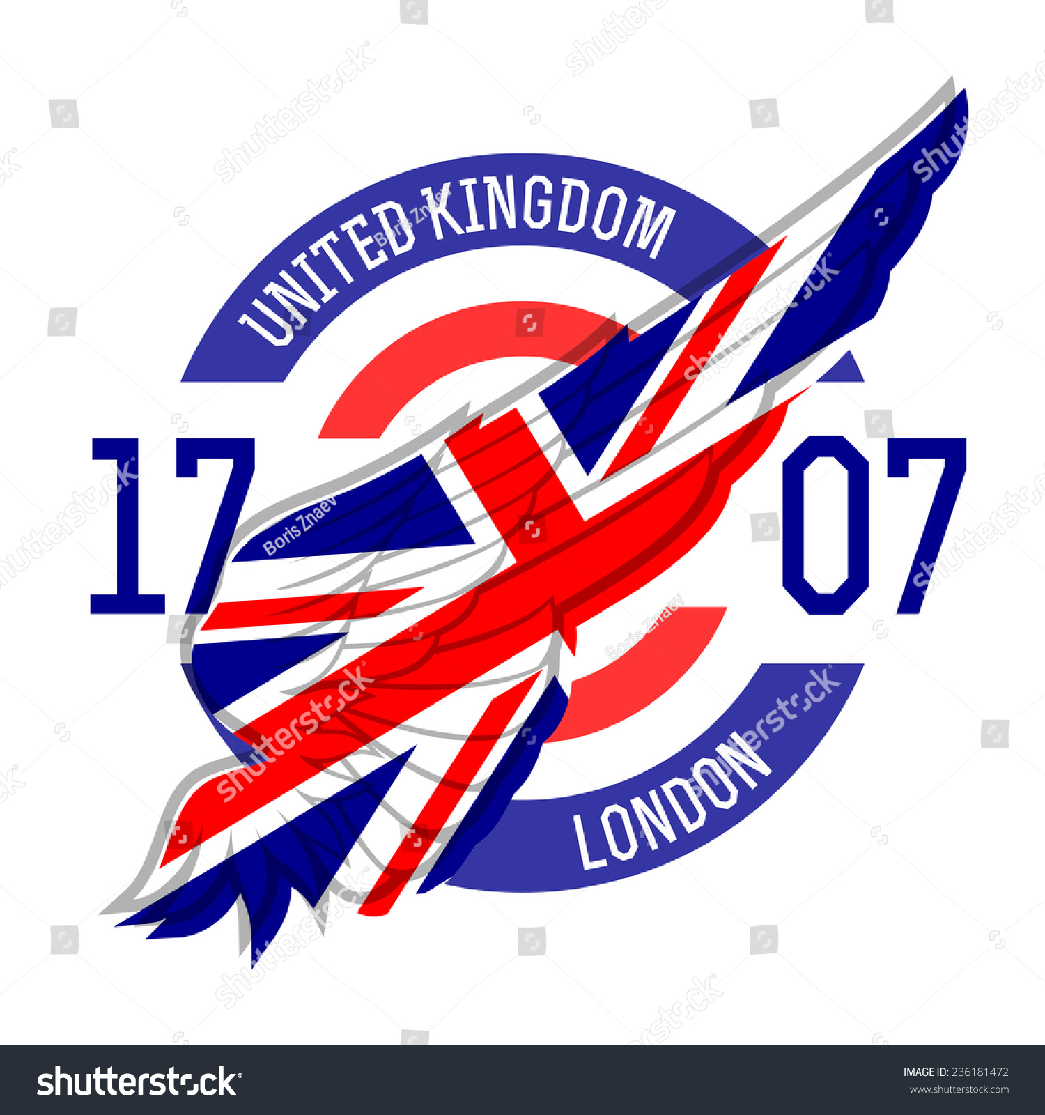 Design t shirt uk - London T Shirt Design Tee Templates With Wing And United Kingdom Flag Colors And