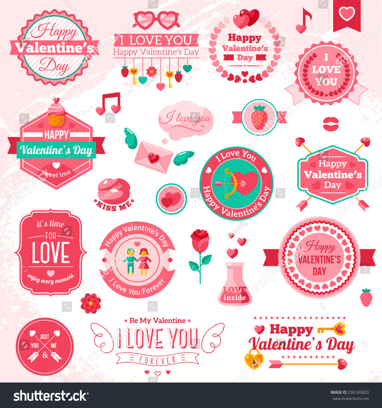 Set Vintage Happy Valentines Day Badges Stock Vector Royalty Free