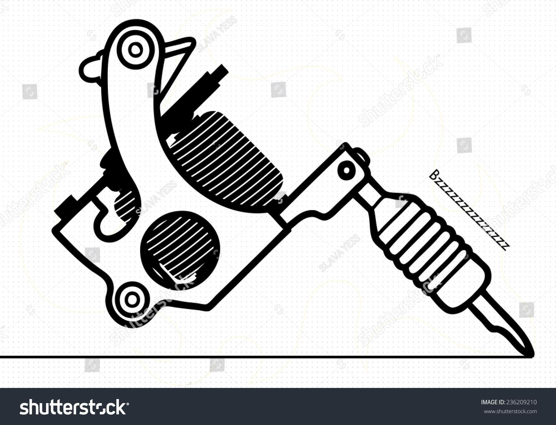 Tattoo Machine Line Drawing : Tattoo machine stock vector shutterstock