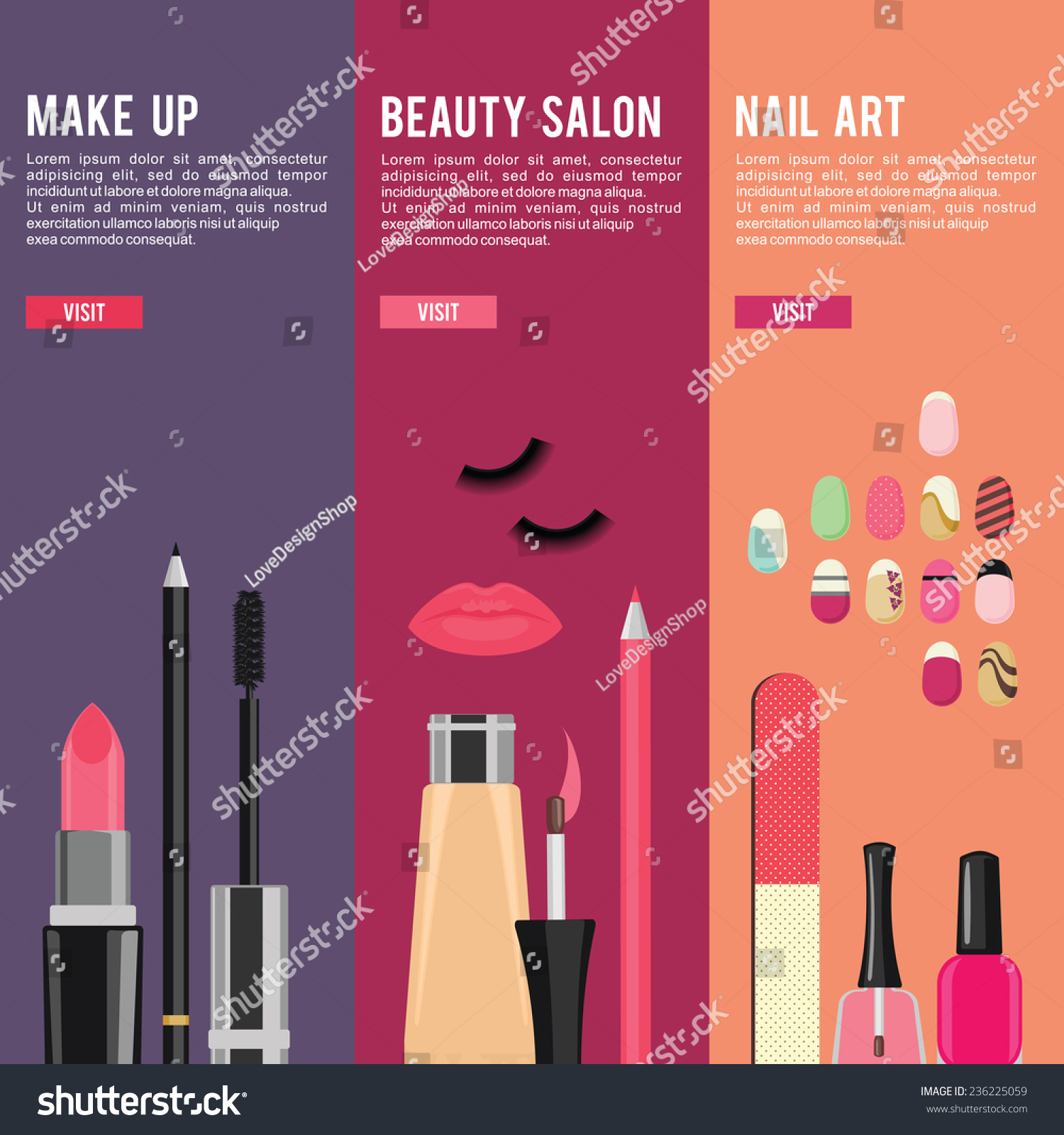 Nails Art Beauty Salon Background Stock Vector: Beauty And Manicure Nail Art Salon, Cosmetics And