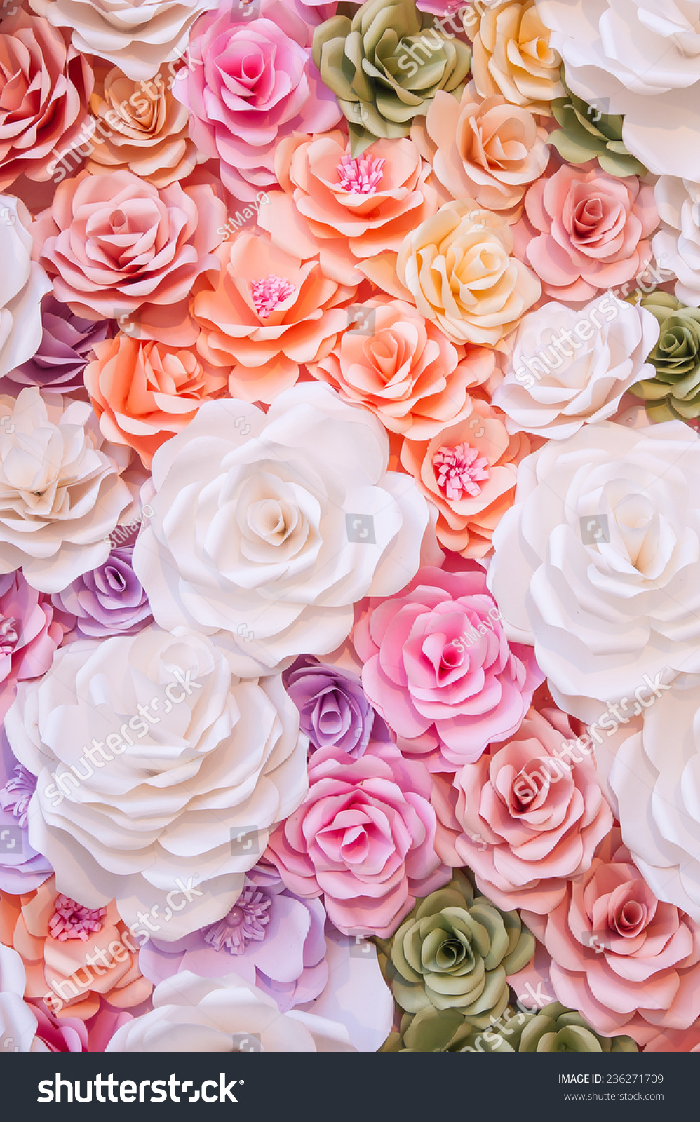 Colorful Flowers Paper Background Pattern Stock Photo Royalty Free