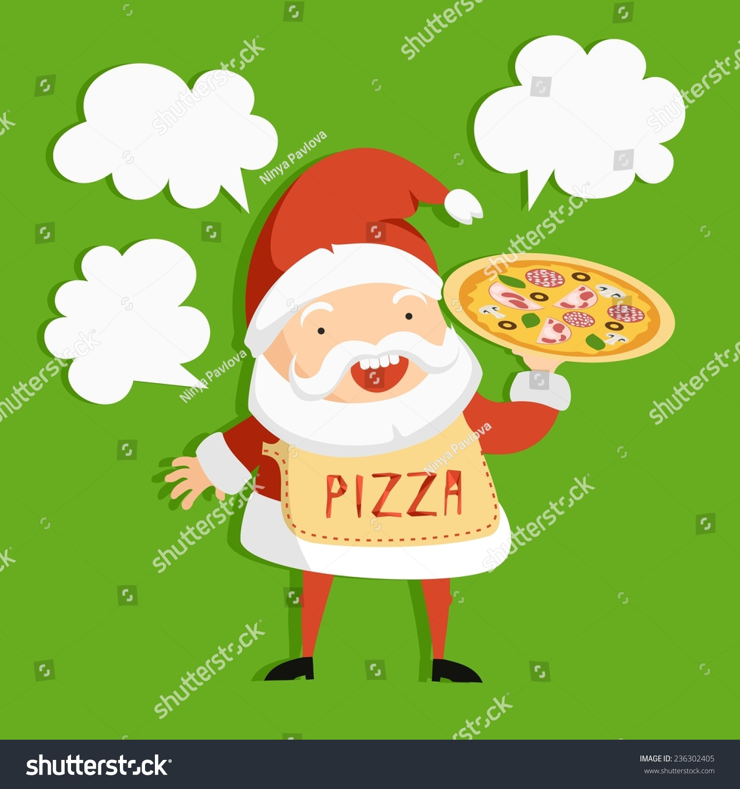 Vector Colorful Card Santa Hot Pizza Stock Vector 236302405 ...