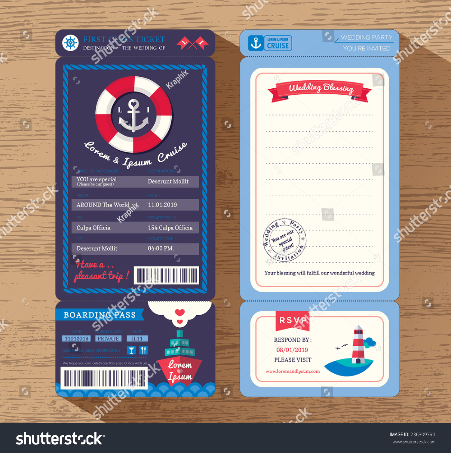 Cruise Ship Boarding Pass Ticket Wedding Vector 236309794 – Ticket Design Template