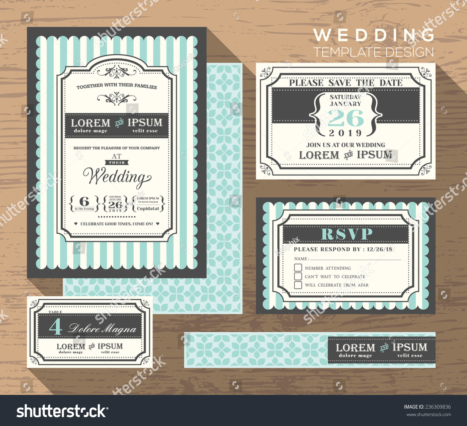 Wedding Invitation Set Design Template Vector Place Card Response Card Save  The Date Card