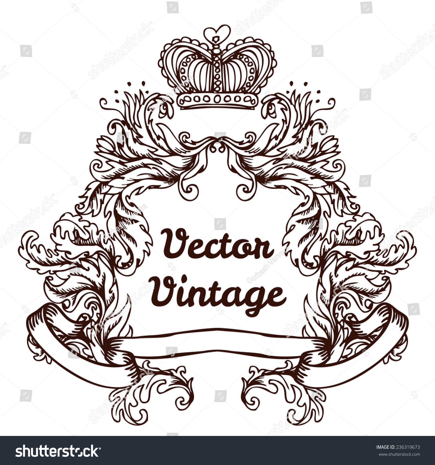 crest with vintage style design elements use for logo frame vector format very