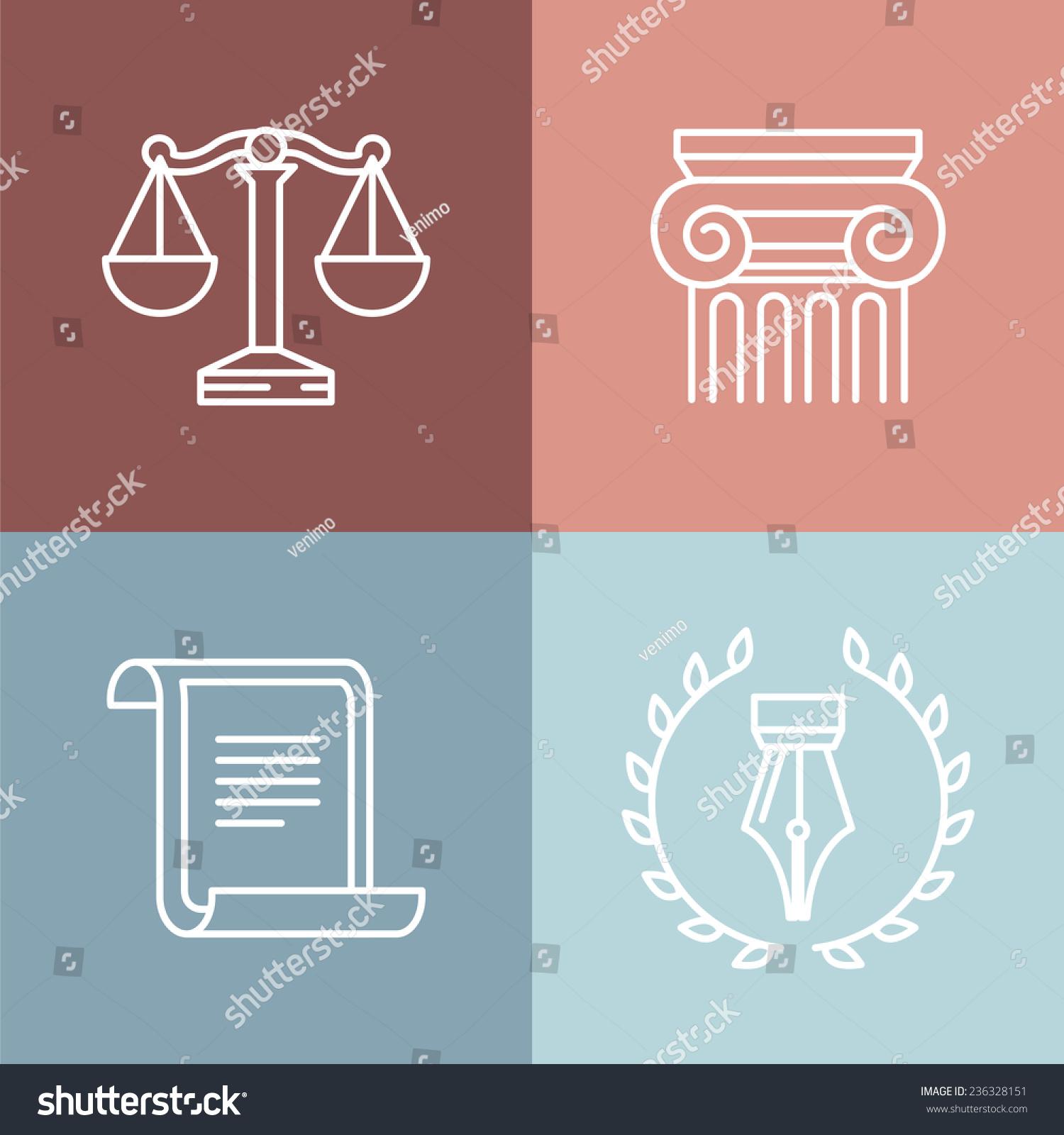 vector set juridical legal logos signs stock vector royalty free