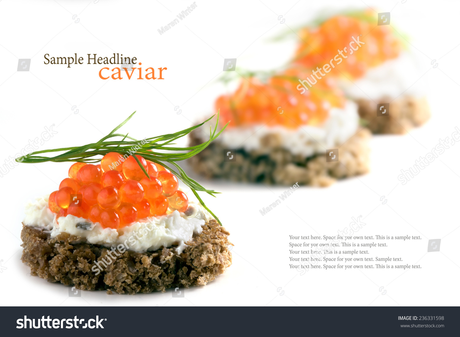 Caviar canapes red with dill garnish some party snacks for Canape garnishes