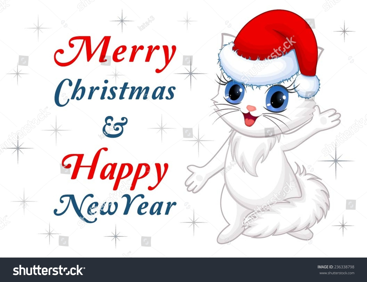 merry christmas happy new year card with cute cat