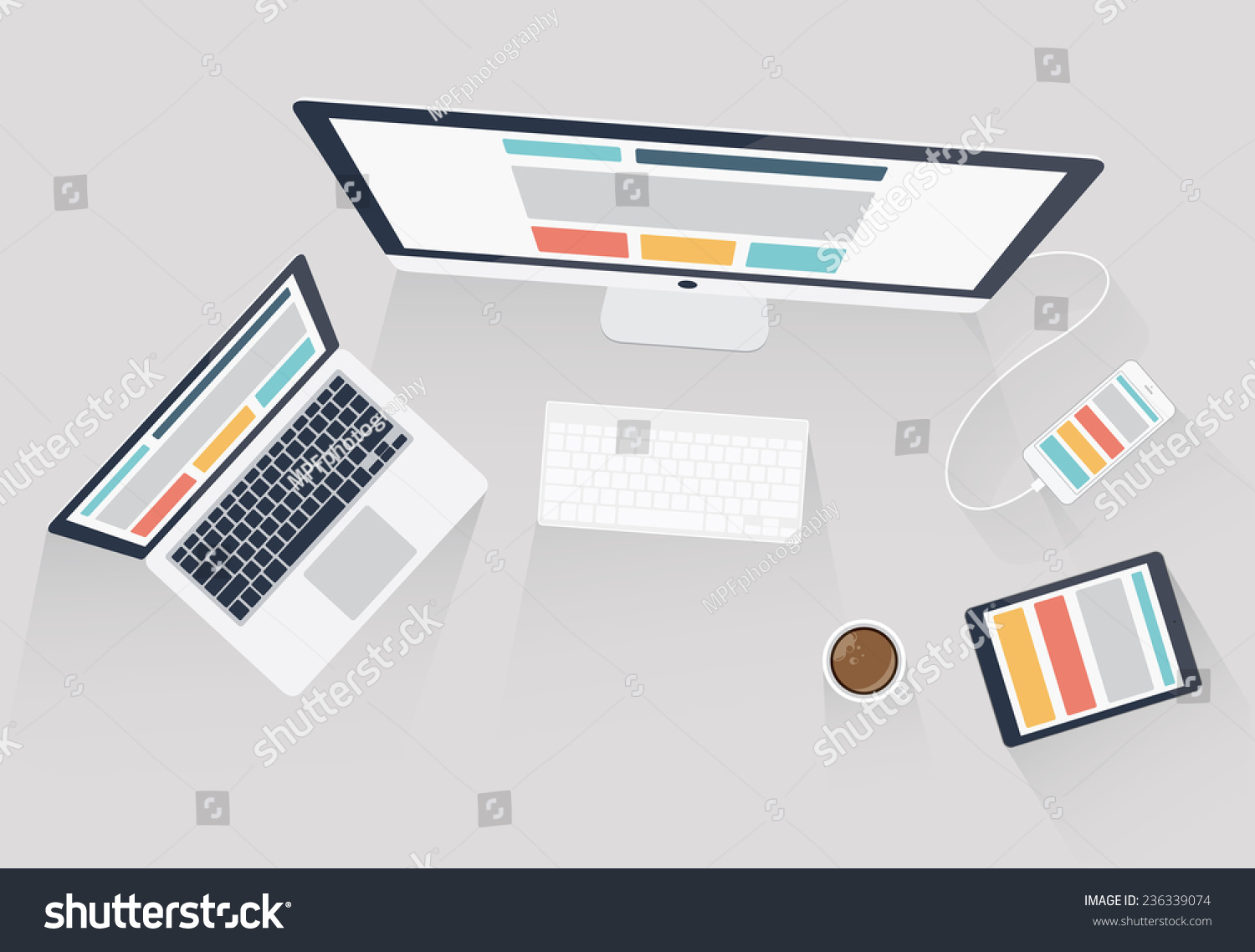 web design and web development vector illustration flat office desk