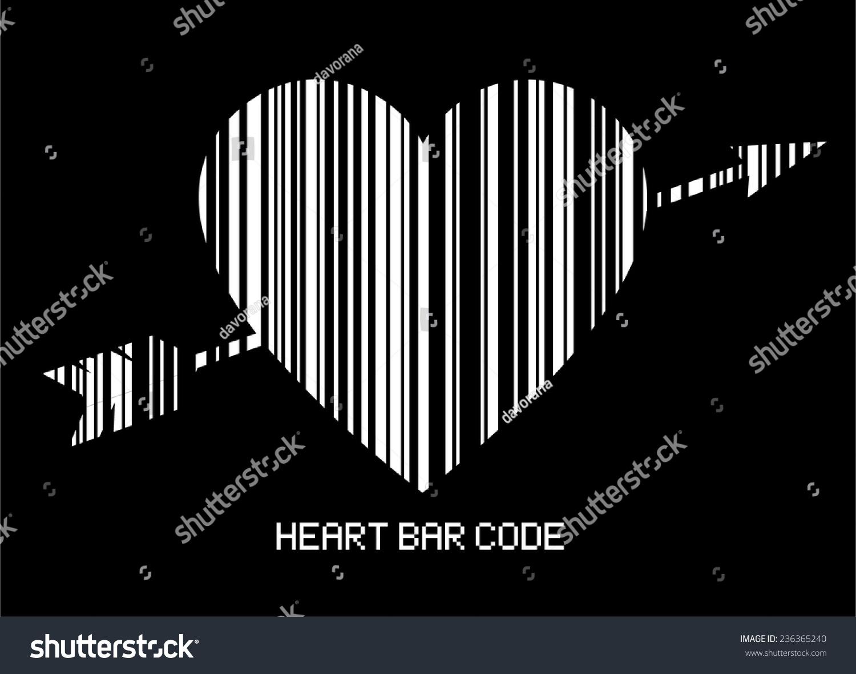Barcode style heart shape arrow amor stock vector 236365240 the barcode style heart shape with the arrow of amor striped heart bar code buycottarizona Choice Image