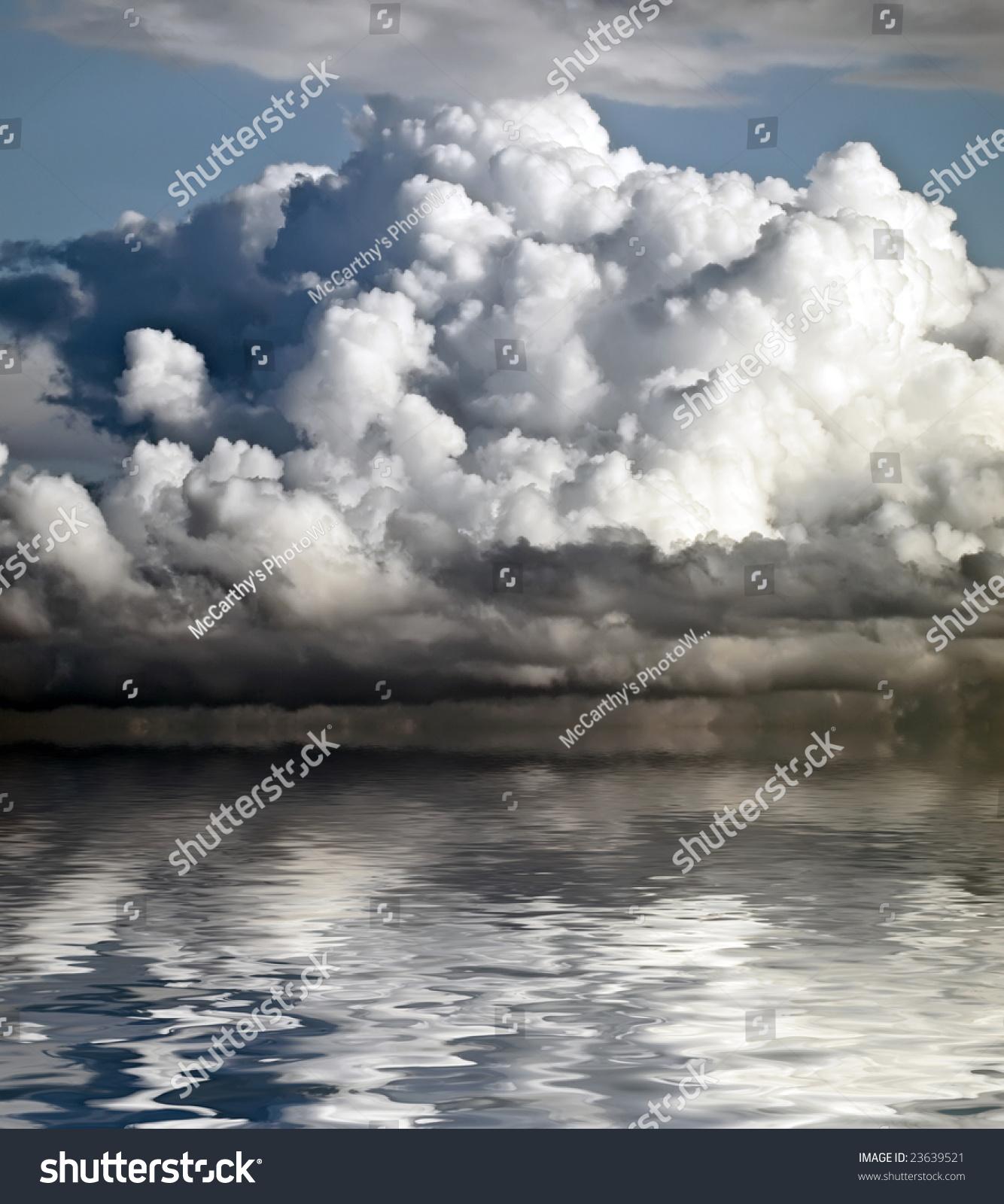 Large Nimbus Cloud Looming Over Horizon Stock Photo 23639521 ...