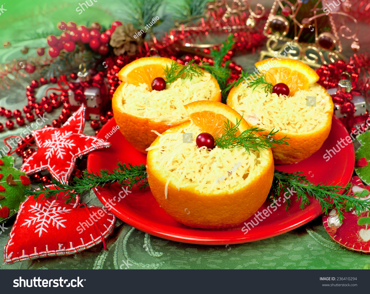 Tasty food appetizer in orange on a holiday and for Appetizer decoration