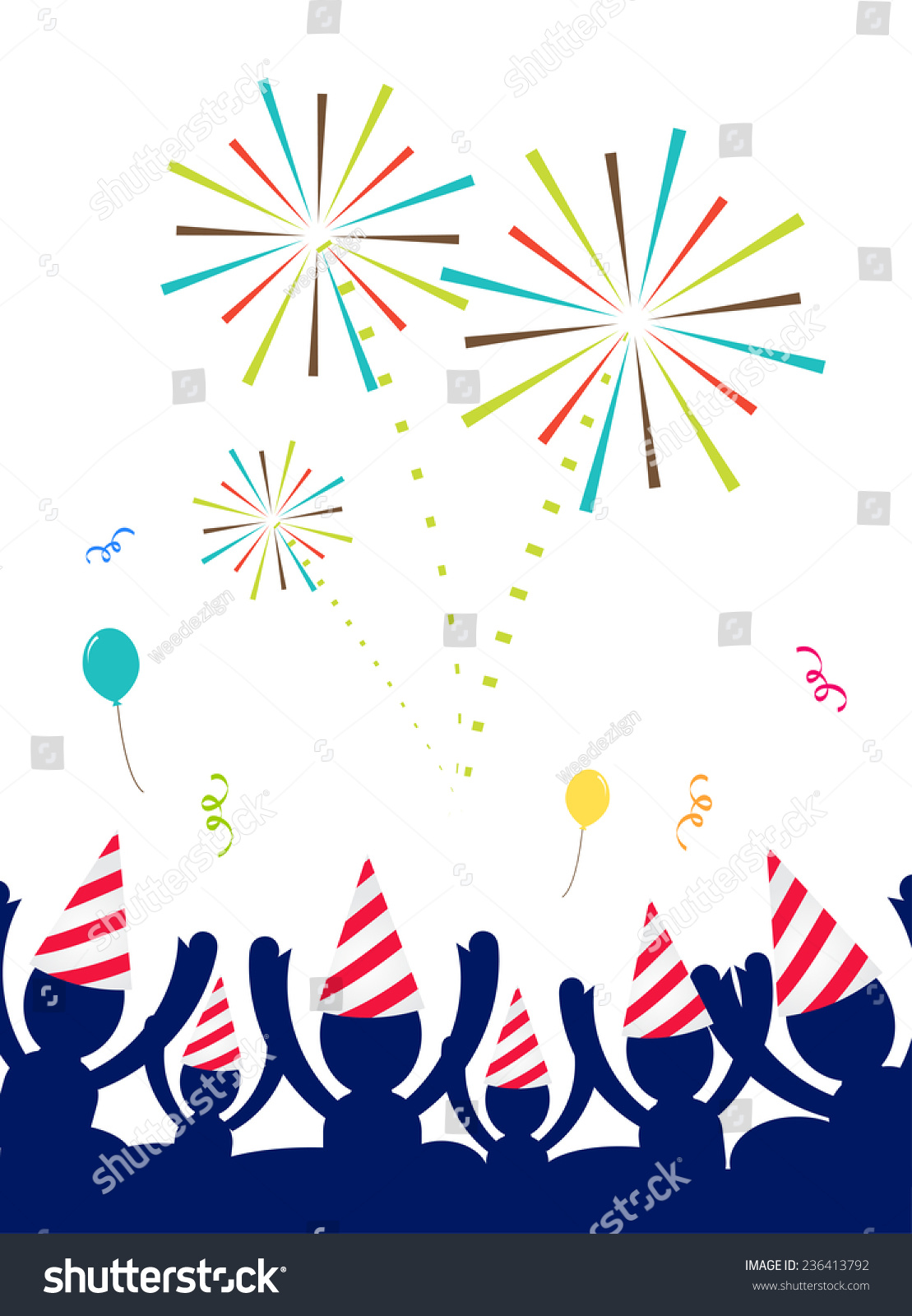Men holding the word party concept 3d illustration stock photo - Vector People With Party Hat Celebrate At Party With Firework Happy New Year Party