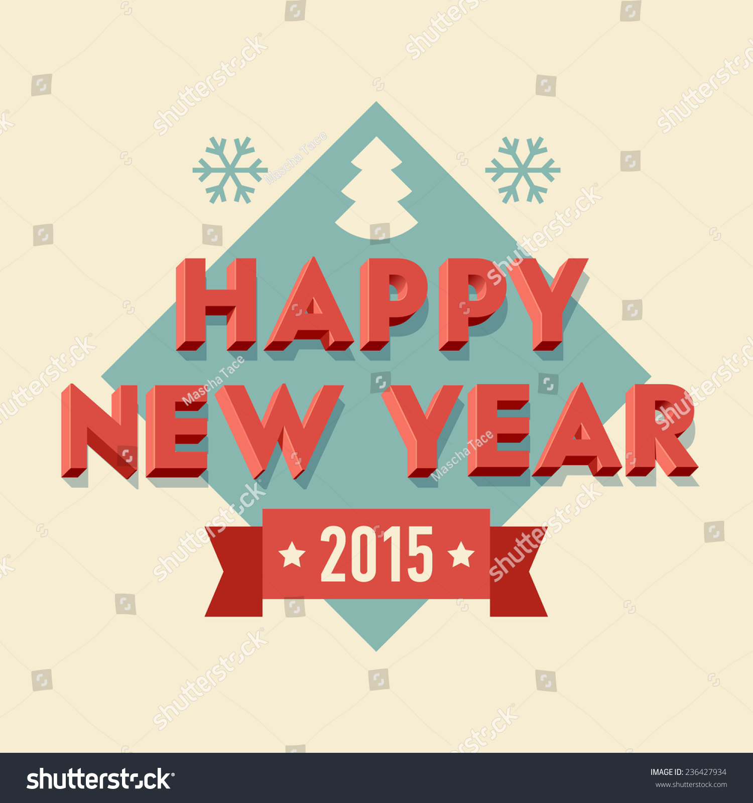 Vector modern retro design on happy stock vector 236427934 vector modern retro design on happy new year celebration cover art for your happy 2015 kristyandbryce Choice Image